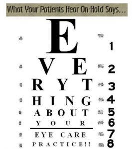 optometrist on hold eye chart
